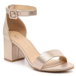 CL by Laundry - gold chunky heel, size 10